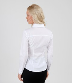 White elastic cotton shirt