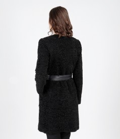 Looped fabric jacket with pockets and leather trim