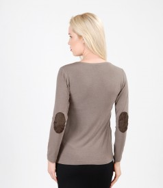 Soft elastic jersey blouse with wool