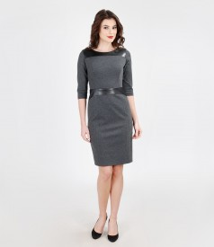 Elastic jersey lined dress with leather trim
