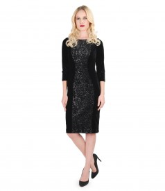 Elastic velvet dress with sequins insertion