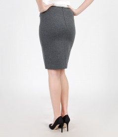 Thick elastic jersey skirt with trim and zippers