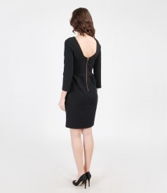 Elastic fabric dress with veil trim