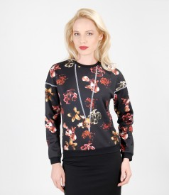 Thick printed jersey blouse