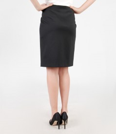 Thick elastic jersey skirt with buckle