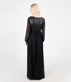 Long evening veil dress with sequins trim