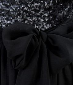 Evening veil dress with sequins trim