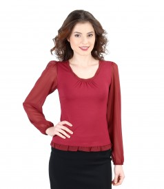 T-shirt with trim and veil sleeves