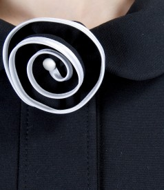 Thick elastic jersey jacket with flower