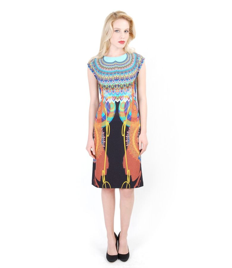 Elegant dress from printed elastic fabric