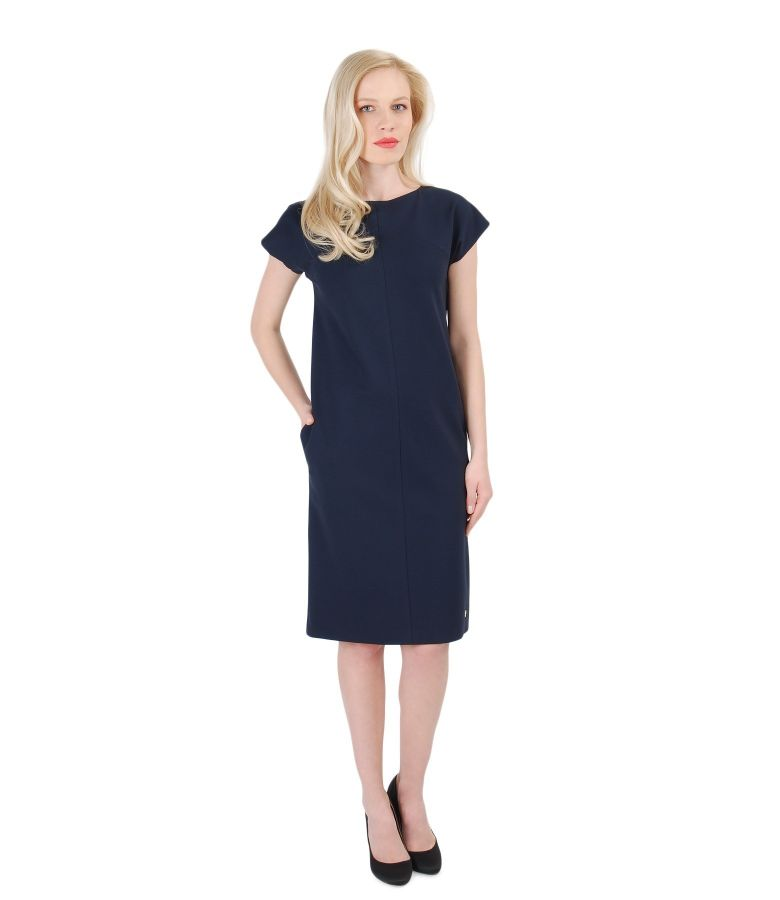 Thick elastic jersey dress with pockets