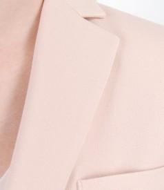 Elastic fabric office jacket with metallic zippers
