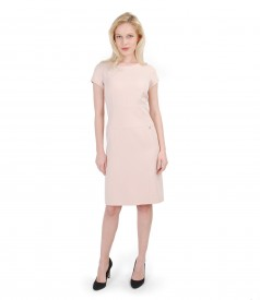 Elastic fabric dress with short sleeves