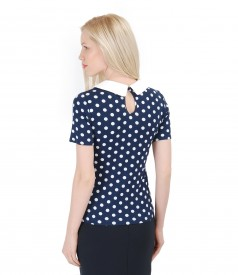 Elastic jersey printed blouse with collar