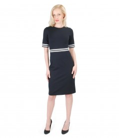Thick elastic jersey dress with elastic trim