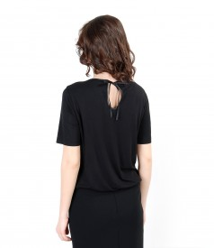 Elastic jersey blouse with elastic fabric front