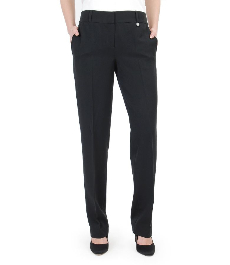Elastic fabric office trousers with pockets