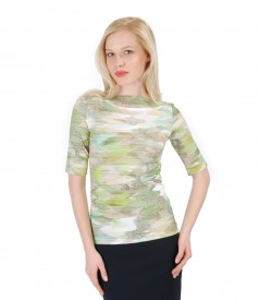 Elastic jersey t-shirt with graphic print