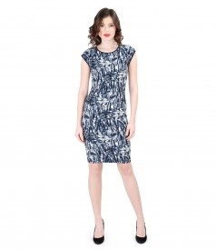 Elegant dress from multicolor elastic brocade