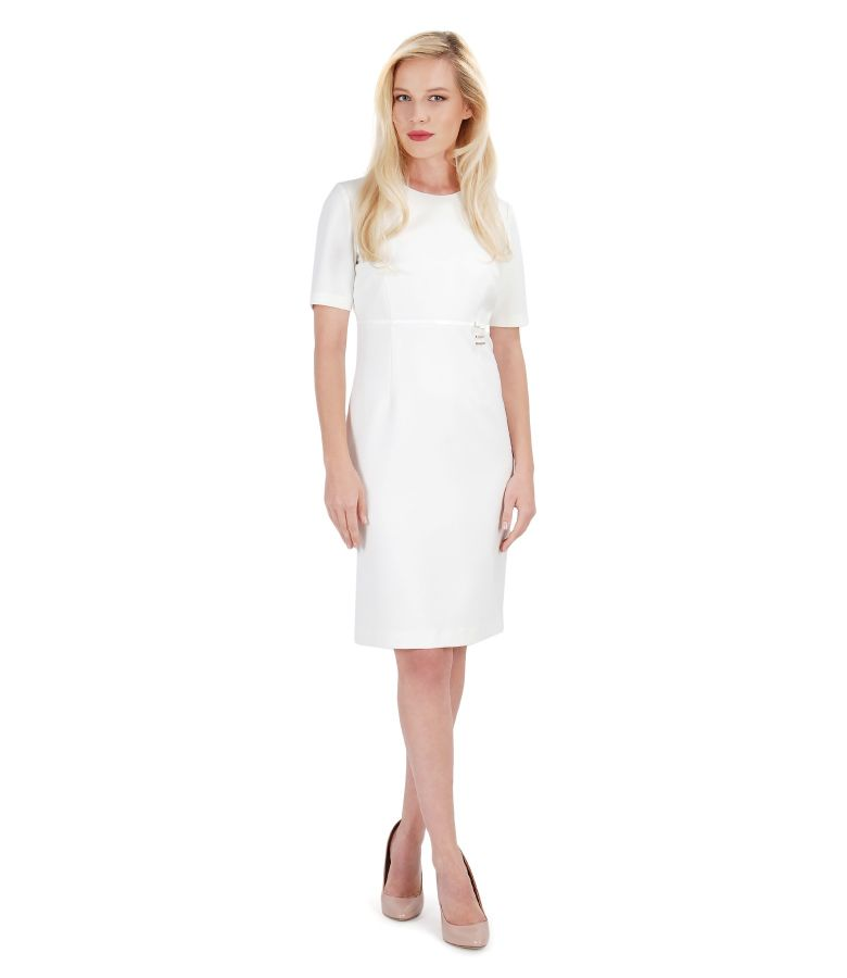 Elegant elastic fabric dress with trim