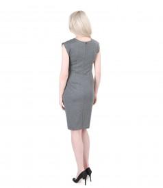Grey thick elastic jersey dress