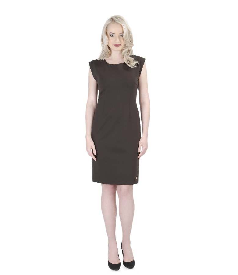 Brown thick elastic jersey dress
