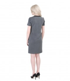 Elastic fabric dress with pockets and velvet trim
