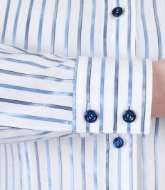 Elastic cotton shirt with satin stripes