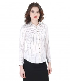 Elastic cotton shirt with satin stripes