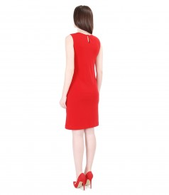 Jersey dress with folds and crystals trim