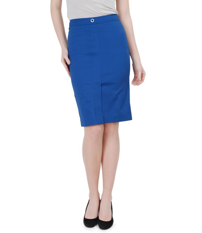Elastic cotton blue skirt