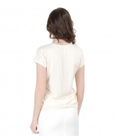 Elastic jersey blouse with printed veil front