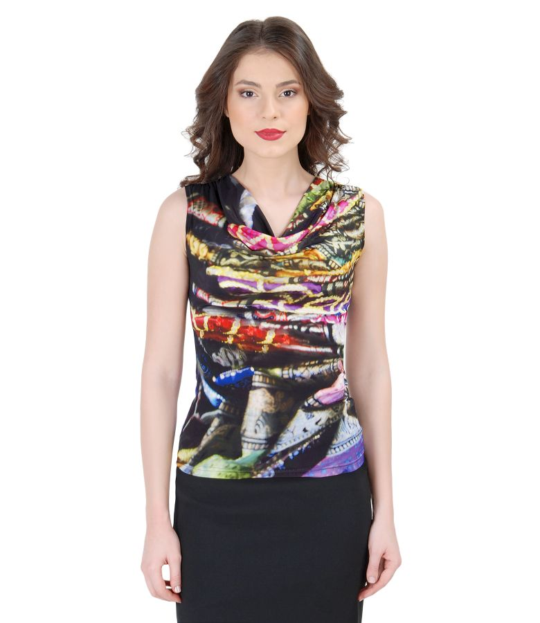Printed jersey t-shirt with folds
