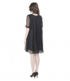 Evening silk dress with puffed sleeves