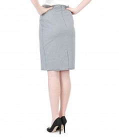 Elastic cotton skirt with stitches