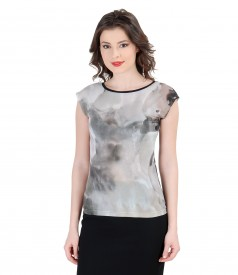 Printed jersey t-shirt with fallen shoulders