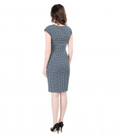 Navy-white ribbed cotton dress