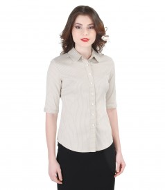 Elastic cotton blouse with satin stripes