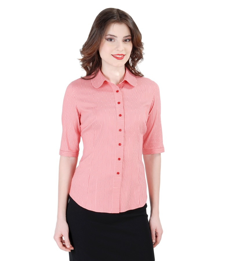 Elastic cotton blouse with satin stripes