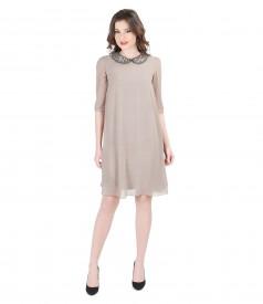Veil evening dress with collar