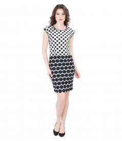 Elastic cotton dress embossed with dots