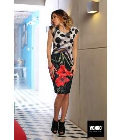Elegant brocade dress with floral patterns