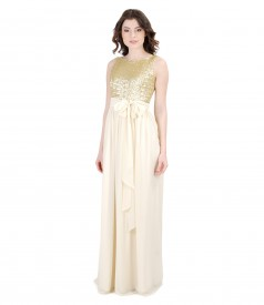 Long evening dress with sequined corsage