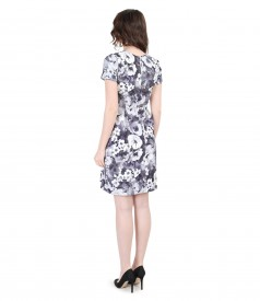 Elastic brocade dress with pockets