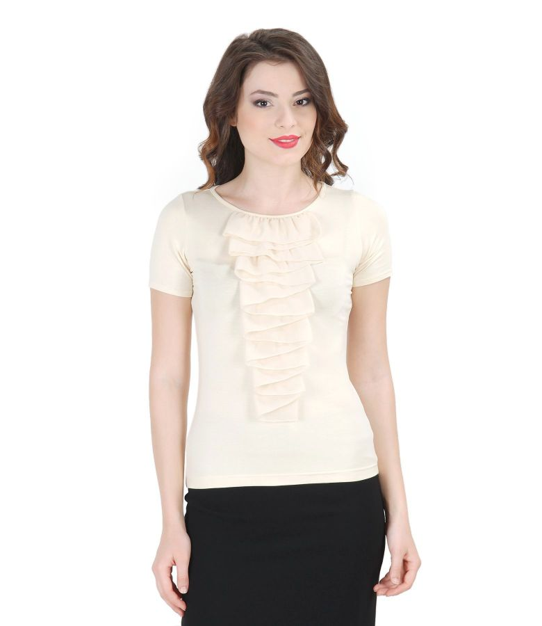 Jersey t-shirt with veil dickey