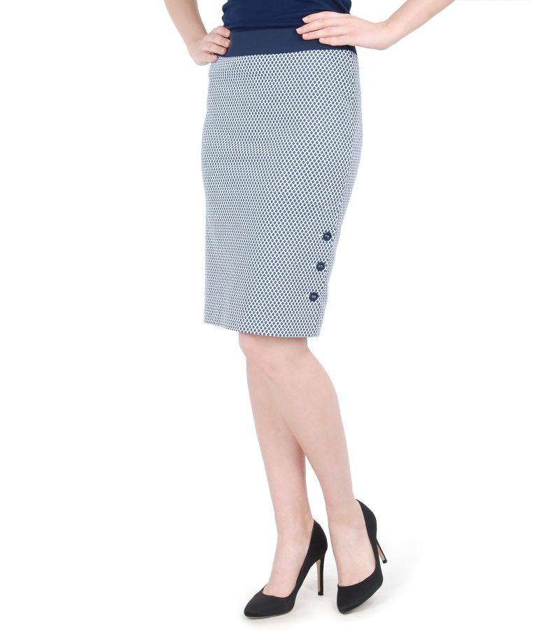 Printed elastic cotton skirt