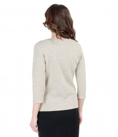Elastic knit blouse with cotton