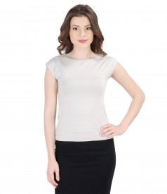 Jersey t-shirt with cap sleeves