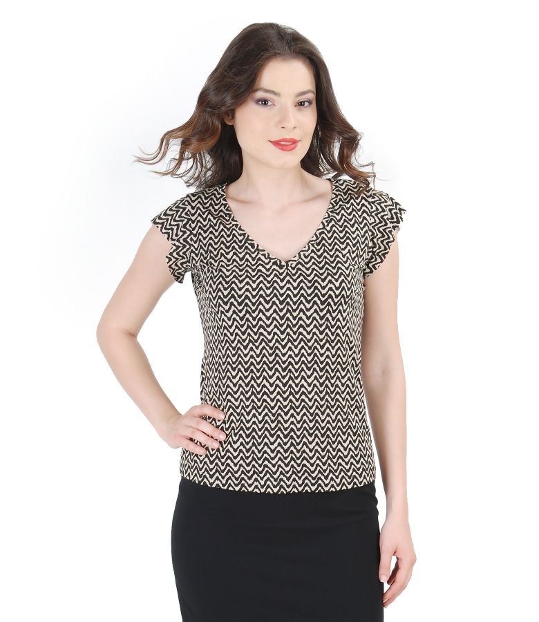 Printed elastic jersey t-shirt with fins