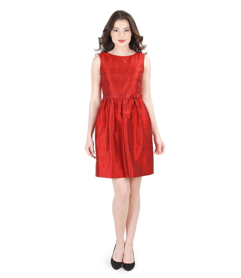Flaring silk taffeta evening dress